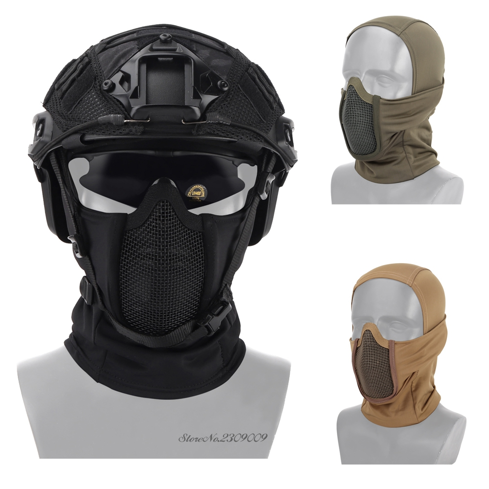 Tactical Balaclava Headgear Airsoft Paintball Half Face Mask Outdoor Hunting Protective Metal Mesh Mask Headgear