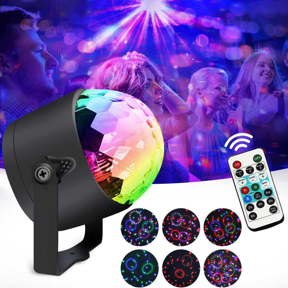 RGB светодиодный сценический свет звук активированный Вращающийся Диско-Шар вечерние проблесковая лампа свет 3 Вт для рождества дома KTV рождественское свадебное шоу