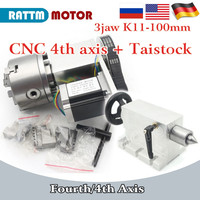 RUS/EU/USA Ship!CNC 3 jaw 4th axis Chuck 100mm (K11 100mm) +Tailstock for Mini CNC router/woodworking engraving