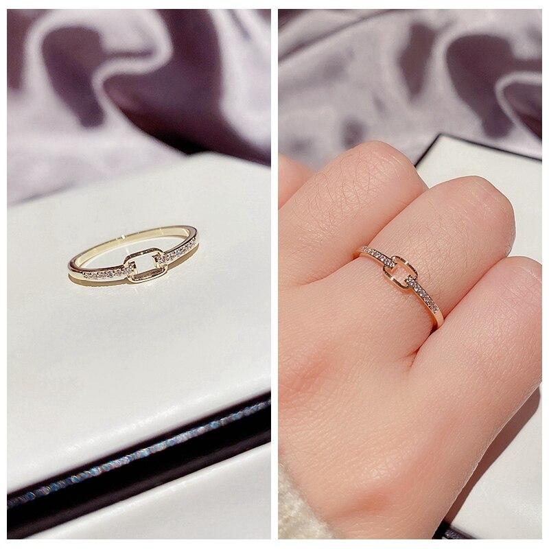MIGGA 2021 дизайн кубический цирконий, геометрической формы кольцо для женщин Золотой Цвет, модное ювелирное изделие
