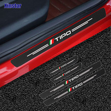 4 pçs de fibra de carbono porta do carro adesivo para fiat tipo