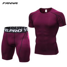 NEW Mens Compression Elastic T-Shirt Sports Tops Vest Body Tummy Shaper Underwear Shapers For Male Slimming Tights Set 2019