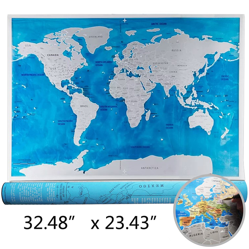 PVC Ocean Style Scratch Map Decoracion World Map National Flag Scratches Deco Wereldkaart School Office Kids Game Travel Gift