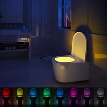 Siège de toilette intelligent avec capteur de mouvement PIR, étanche, 8 couleurs, rétro éclairage pour bol des toilettes, luminaire LED, luminaire pour WC