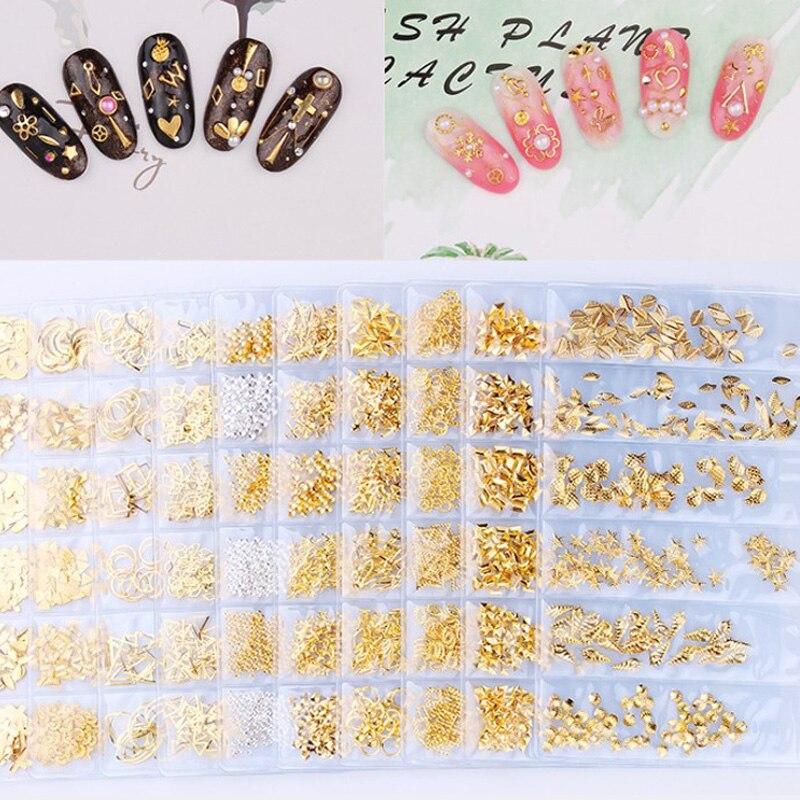 Звездный месяц полый золотой и серебряный дизайн ногтей металлическая оболочка 3D украшение для ногтей Стразы дизайн ногтей Подвески из кам...