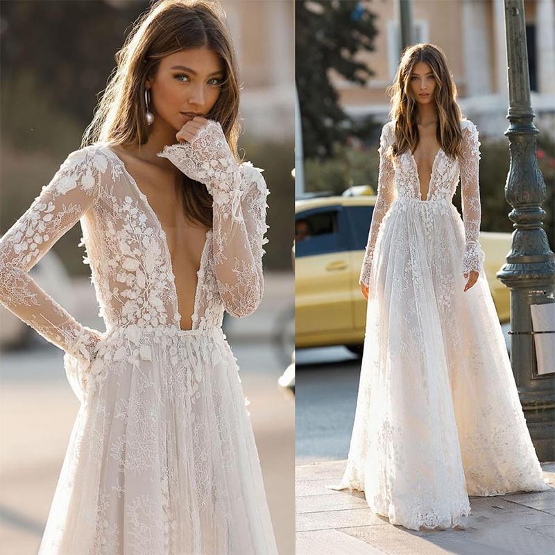 Wedding Dresses Deep V Neck Backless 2021 Elegant Berta 3D Floral Lace Appliques Beach Bridal Gown Custom Robe De Mariee