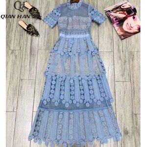 Image 3 - Qian Han Zi 2019 дизайнерское модное подиумное Макси платье женские с коротким рукавом с вышивкой кружевные Элегантные Длинные вечерние платья