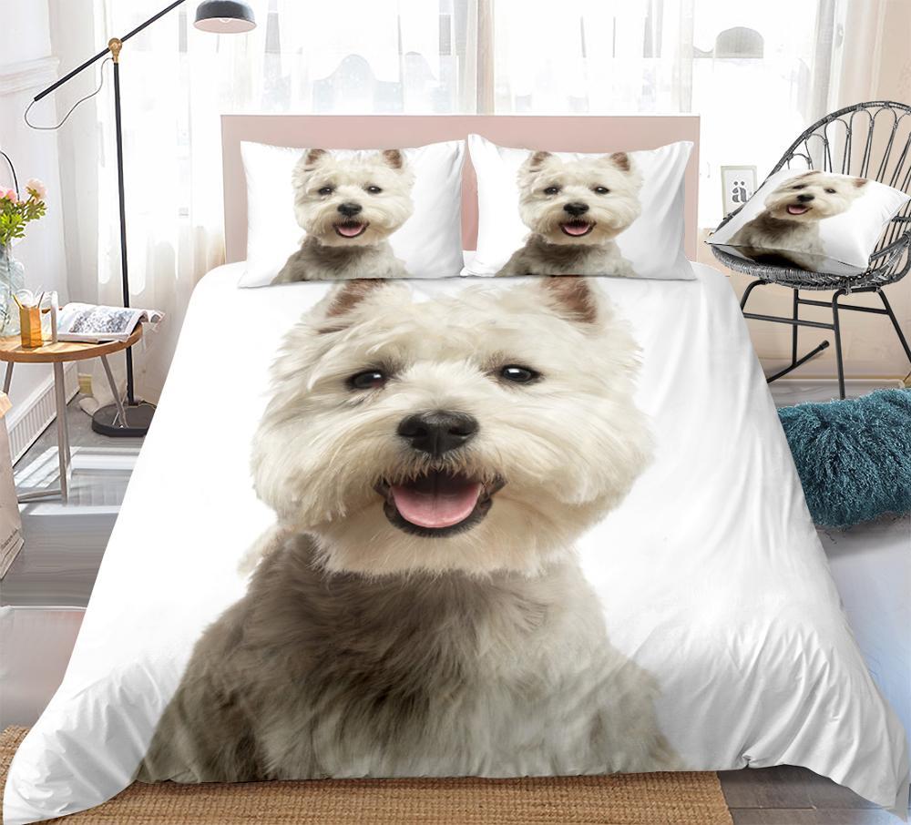 3D Dog Duvet Cover Set West Highland White Terrier Bed Set White Bedding Kids Boys Girls Cute Pet Quilt Cover 3pcs Dropship