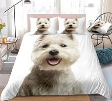 3D pies zestaw poszewek West Highland White Terrier łóżko-zestaw biały pościel dla dzieci chłopcy dziewczęta słodkie zwierzątko kapa na kołdrę 3 sztuk Dropship tanie tanio MOVE OVER Brak Zestawy Kołdrę 100 poliester 2 2 m (7 stóp) 1 2 m (4 stóp) 1 8 m (6 stóp) 1 35 m (4 5 stóp) 1 5 m (5 stóp)