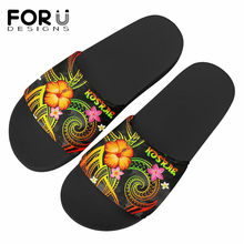 FORUDESIGNS Kosrae polinezya Hibiscus kaplumbağa baskı kadınlar kat düz ayakkabı kapalı Flip flop kadın kaymaz terlik ayakkabı