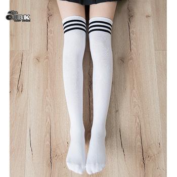 OJBK Lolita bawełna szkolna dziewczyna nad kolanem pończochy długie urocze Anime obcisłe wysokie czarne białe Kawaii Student Cosplay Sailor Moon tanie i dobre opinie LILICOCHAN COTTON W paski Dla osób dorosłych CN (pochodzenie) stockings kostiumy WOMEN 45cm