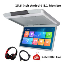 15.6 Inch Android 8.1 IPS Screen Car Monitor Ceiling Roof Mount Monitor HD 1080P Video WIFI/HDMI/USB/SD/FM/Bluetooth/Speaker
