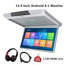 Pantalla IPS de 15,6 pulgadas para coche Monitor de montaje en techo de coche, HD, 8,1 P, vídeo, WIFI/HDMI/USB/SD/FM/Bluetooth/altavoz, Android 1080