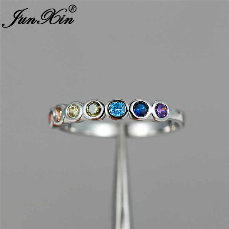 Jeden rząd Multicolor cyrkon cienki pierścień biały złoty tęczowy ogień kryształowy kamień obrączki dla kobiet pierścionek do łączenia biżuterii Cz