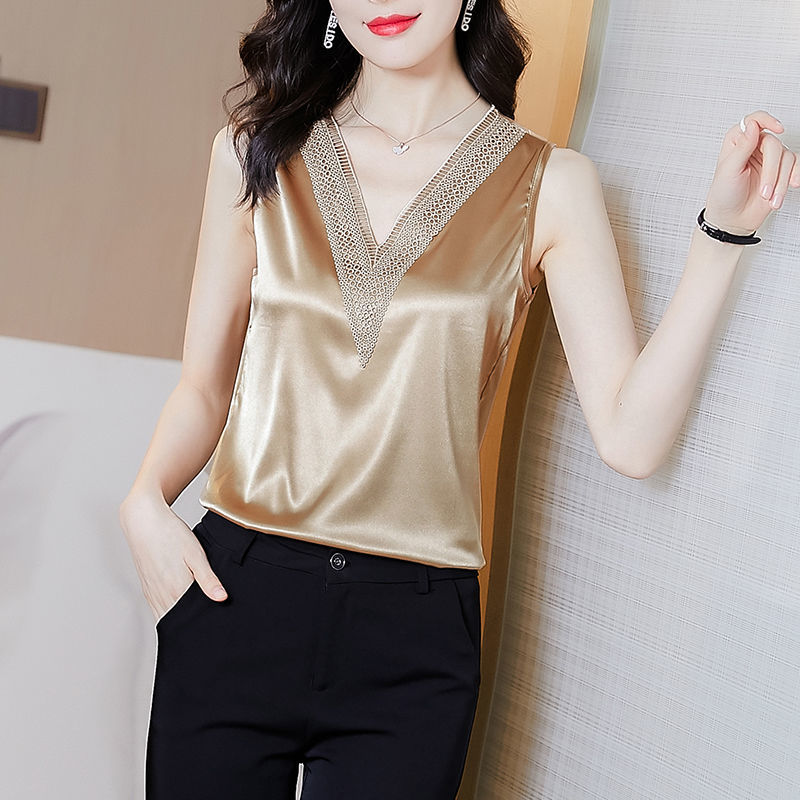 High End Silk Shirt 2021 New V-neck Sexy Splicing Suspender Vest Temperament Sleeveless Top