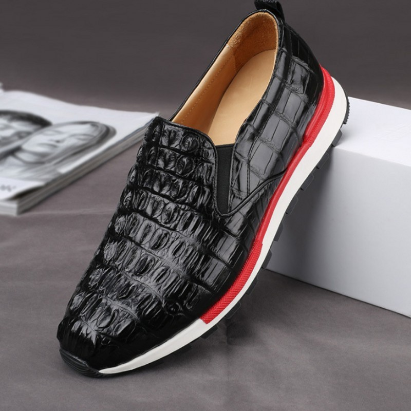 Brand 2020 New Genuine Leather Casual Shoes Men Loafers Slip On Flats Crocodile Boat Shoes Fashionable Luxury Black Sneakers