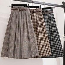 De talla grande 3XL Otoño Invierno mujeres faldas de lana a cuadros faldas a media pierna 2019 Casual suelta señoras Oficina faldas cintura elástica fajas S39