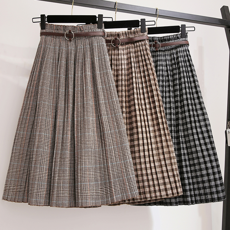 Plus Size 3XL Autumn Winter Women Wool Skirts Plaid Mid Skirts 2019 Casual Loose Ladies Office Skirts Elastic Waist Sashes S39