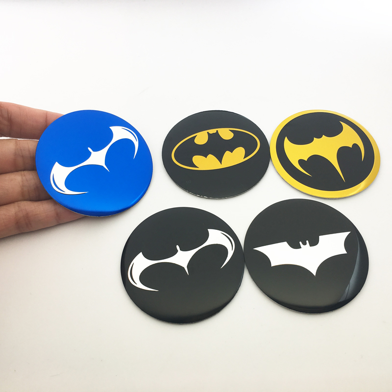 4pcs 56mm <font><b>Car</b></font> <font><b>Wheel</b></font> <font><b>Center</b></font> <font><b>Hub</b></font> <font><b>Cap</b></font> Cover Stickers Batman logo Emblem Badge for Audi Ford Mazda <font><b>Skoda</b></font> Toyota Lada <font><b>car</b></font> styling image