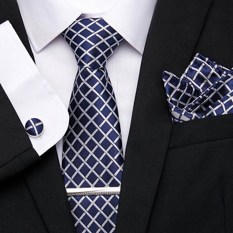 Luxury 7.5cm Men's Classic Blue Stripe Tie Clip Cuffink Handkerchief Tie Set Jacquard Woven 100% Silk Tie Floral Necktie Wedding