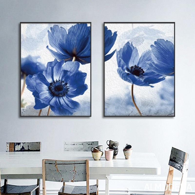 Nordic Simple Blue Flowers Decorative Paintings Canvas Posters And Prints Wall Art Picture For Living Room Home Decoration Painting Calligraphy Aliexpress