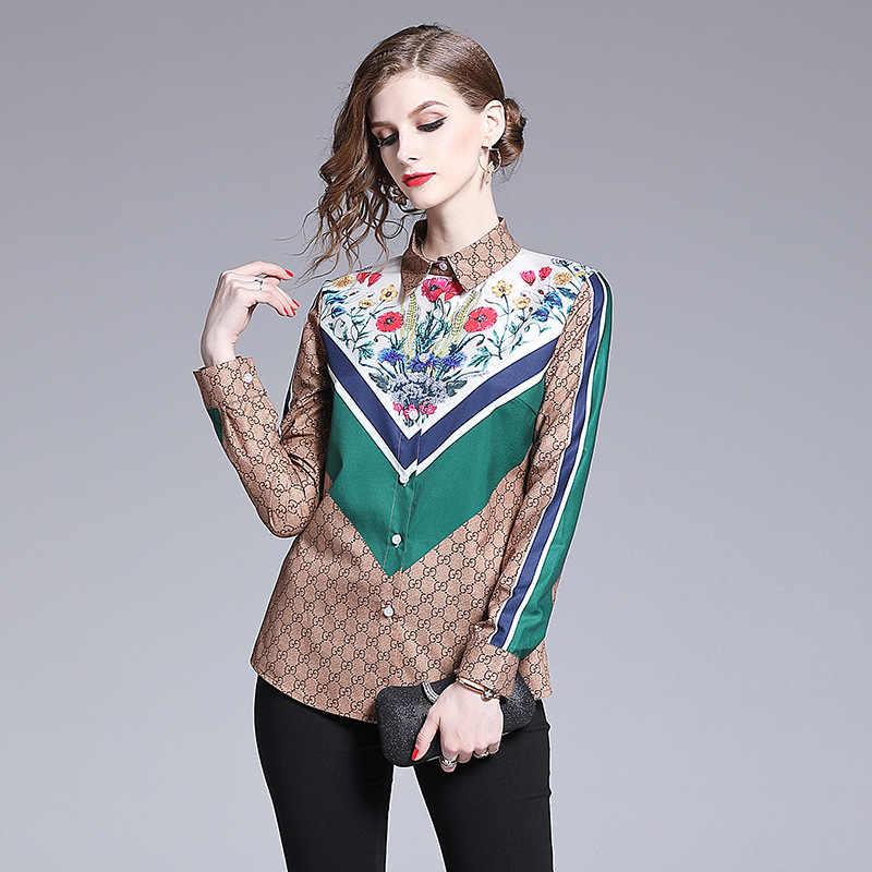 Áo dài Tay In Áo Blouse Nữ 2019 blusas mujer de Moda shein Cổ Gập chemisier Femme Nữ Công Sở Blusa Camisas mujer