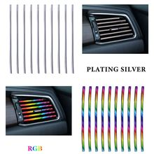 цена на 10pcs/pack Car Styling Mouldings Air Outlet Trim Strip Cars Decoration Strips Chrome Auto Air Vent Grilles Rim Trim Car Access