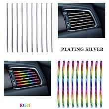 10pcs/pack Car Styling Mouldings Air Outlet Trim Strip Cars Decoration Strips Chrome Auto Air Vent Grilles Rim Trim Car Access