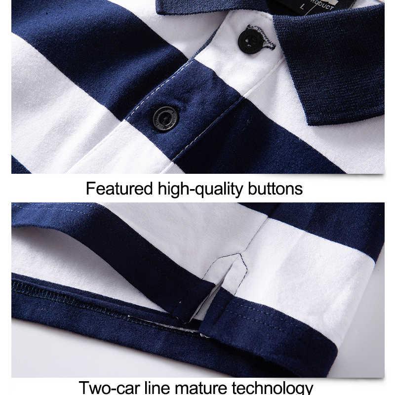 남성 폴로 셔츠 여름 스트라이프 코 튼 반팔 티셔츠 남성 비즈니스 캐주얼 멋진 남성 폴로 셔츠 옷 깃 칼라 브랜드 M-6XL