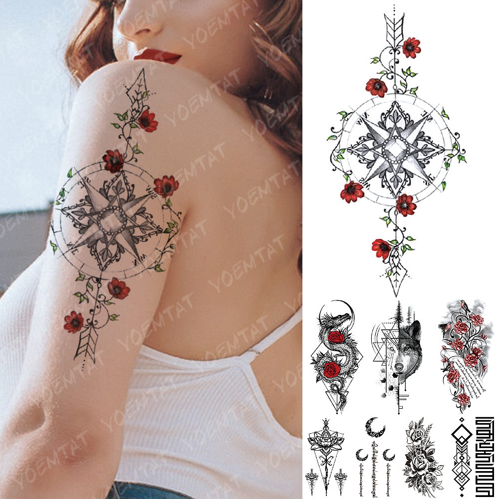 Waterproof Temporary Tattoo Sticker Compass Rose Vine Dragon Flash Tattoos  Bird Poem Body Art Arm Fake Tatoo Women Men