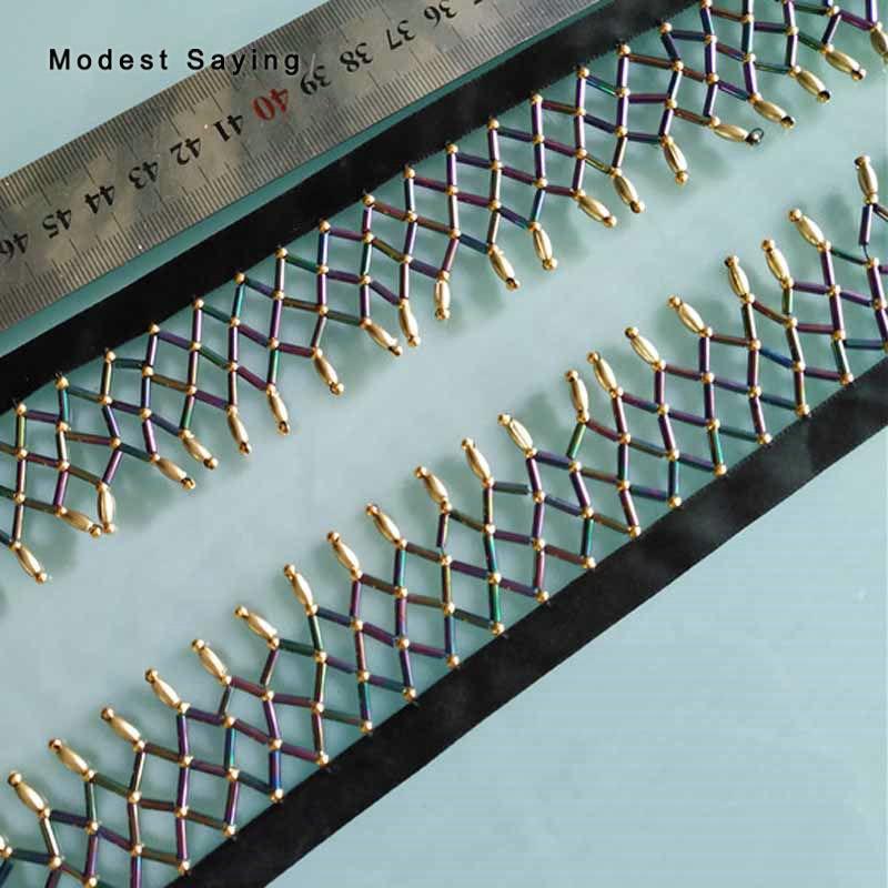 5 Yards Blue  4cm Cross-Criss Beaded Fringe Trim Ribbon Sewing Tassel Fringe Trimming Latin Dress Evening Garment Accessories