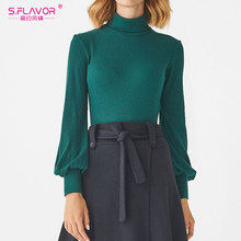 S.FLAVOR High Neck Women Autumn Sweater 2020 Winter Turtleneck Minimalist Pullovers Sweater Slim Bottoming knitted Colothes(China)