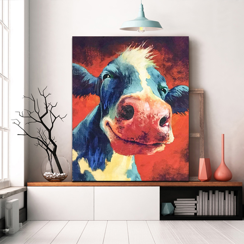 DIY Colorings Pictures By Numbers With Cow Picture Drawing Relief Painting By Numbers Framed Home