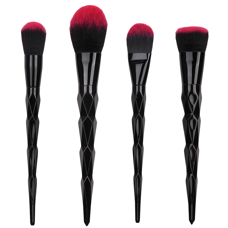 4pcs/Set Heated blending Blush Metal Makeup Brushes Cosmetic Face Foundation Power Eyeshadow Make Up Brush Kit Maquiagem Cotton