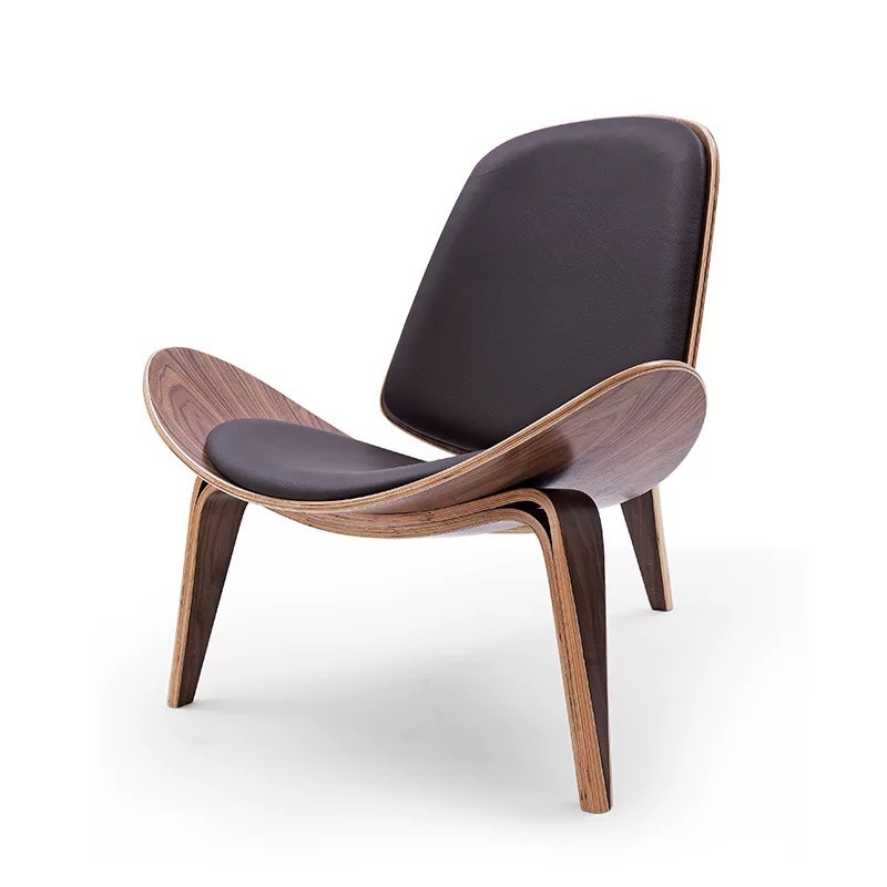 K-STAR Three-Legged Shell Chair Ash Plywood Fabric Upholstery Living Room Furniture Modern Lounge Shell Chair