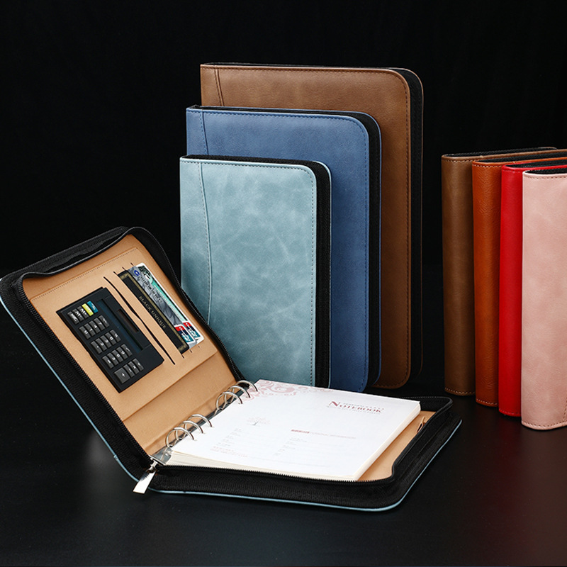 A6 A5 B5 Diary Notebook and Journal Binder Spiral with Calculator Zipper Bag Note Book Business Manager Folder Padfolio Handbook(China)