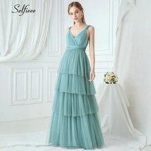 Женское элегантное вечернее платье трапециевидной формы с v