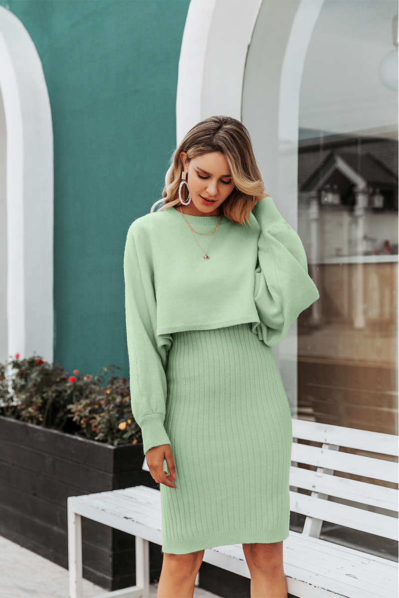 Simplee Elegant 2 pieces women knitted dress Solid bodycon sweater dress Autumn winter ladies pullover work wear sweater suit