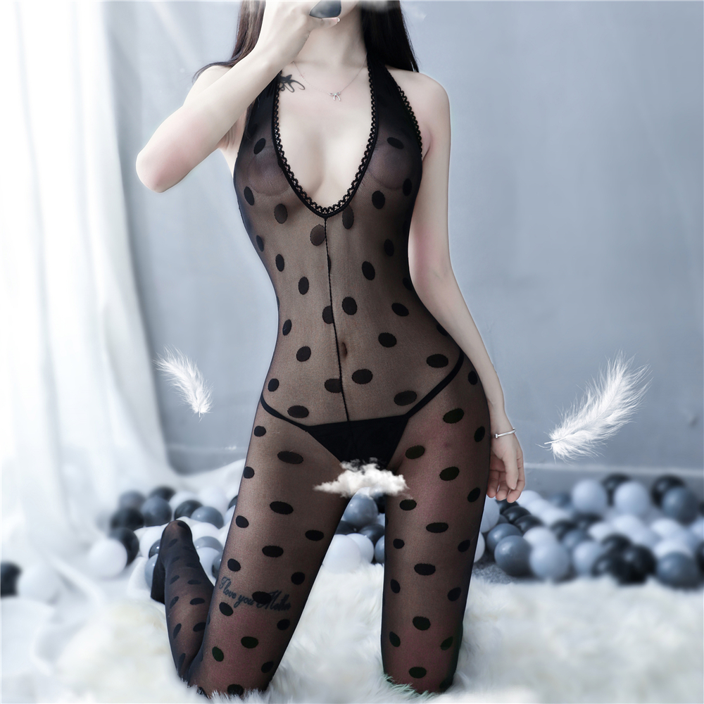 Porn Sex Underwear Black Dot Latex Catsuit Erotic Bodysuit Sexy Teddy Lingerie Open Crotch Bodystockings Women Sexy Costumes