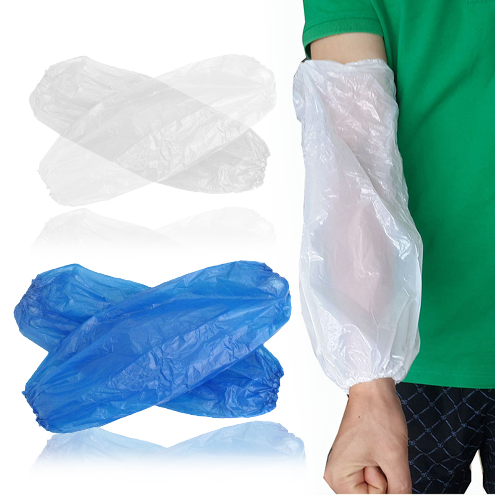 100 Pcs Non Toxic Protective Arm Durable Salon Household Plastic Hotel Sleeves Cover Elastic Waterproof Cleaning Disposable