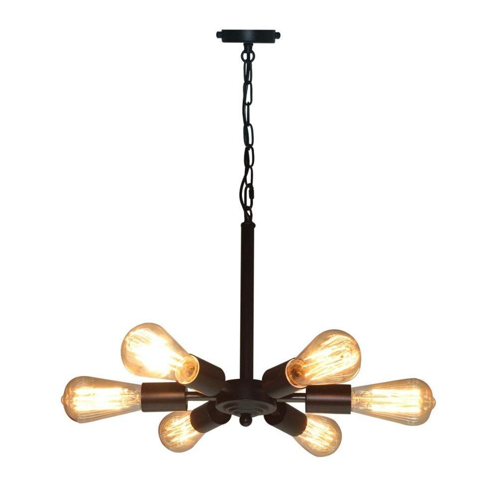 Sputnik Chandelier 6 Lights Stair Lighting Fixtures Mid Century Light Industrial Lighting For Home Decor Black Lamp|Pendant Lights| |  - title=