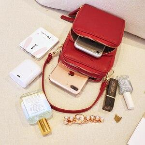 Image 3 - Bolsa feminina crossbody saco do telefone zíper impermeável sólido couro do plutônio saco de embreagem saco de cartão bolsa carteira esporte ao ar livre 3 camada de armazenamento