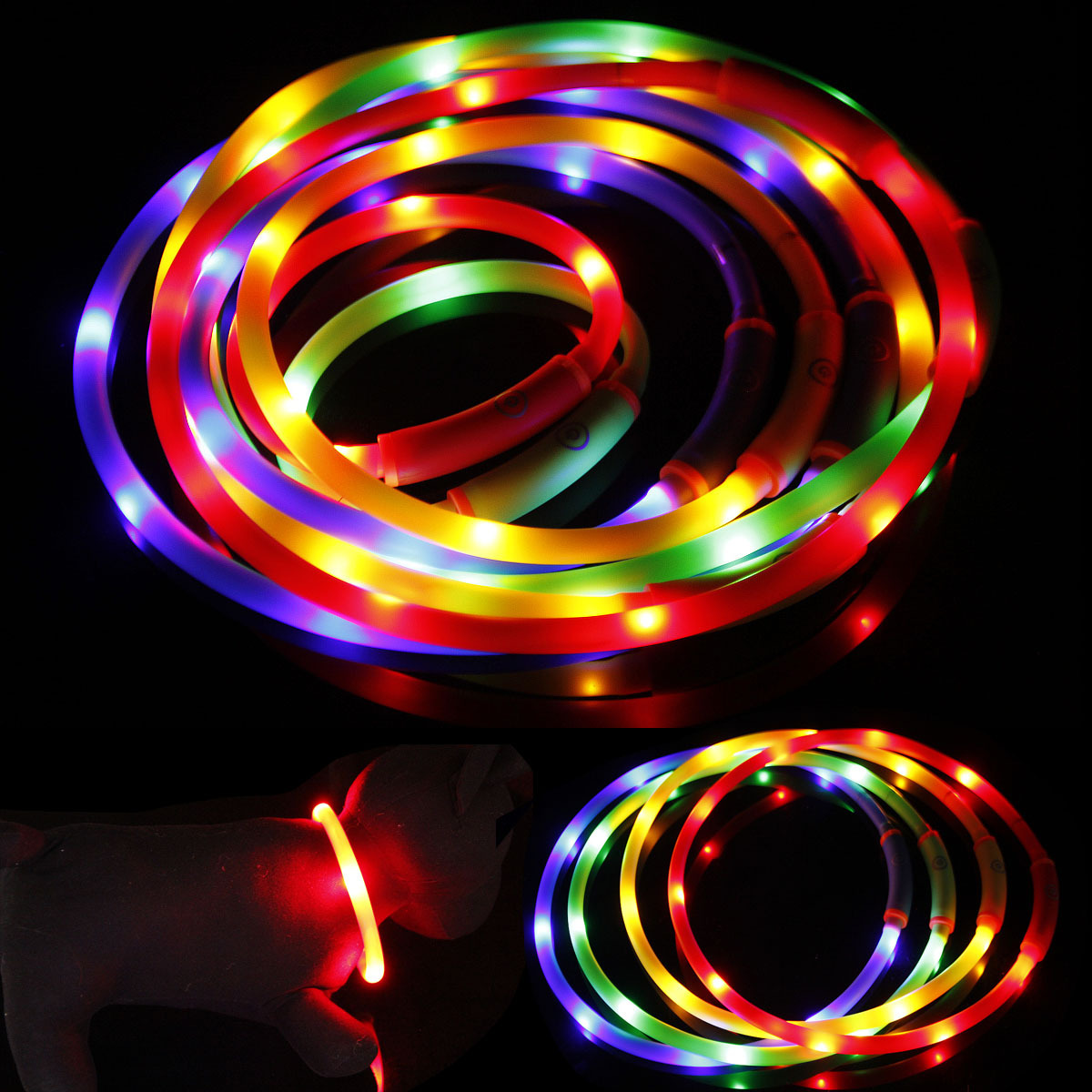 Waterproof LED Pet Luminous Collar USB Charging Collar Night Light Bandana Medium-small Large Dog Cat Supplies