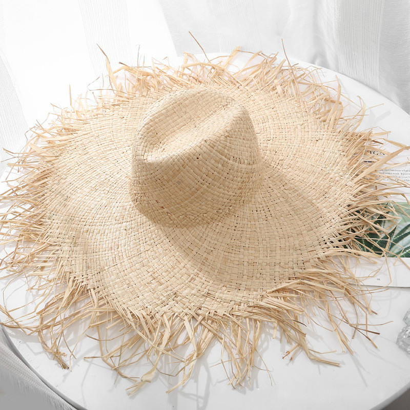 Natural Large Wide Brim Floppy Hat Raffia Jazz Straw Hat Women Summer Fringe Beach Cap Hand Weave Sun Hat