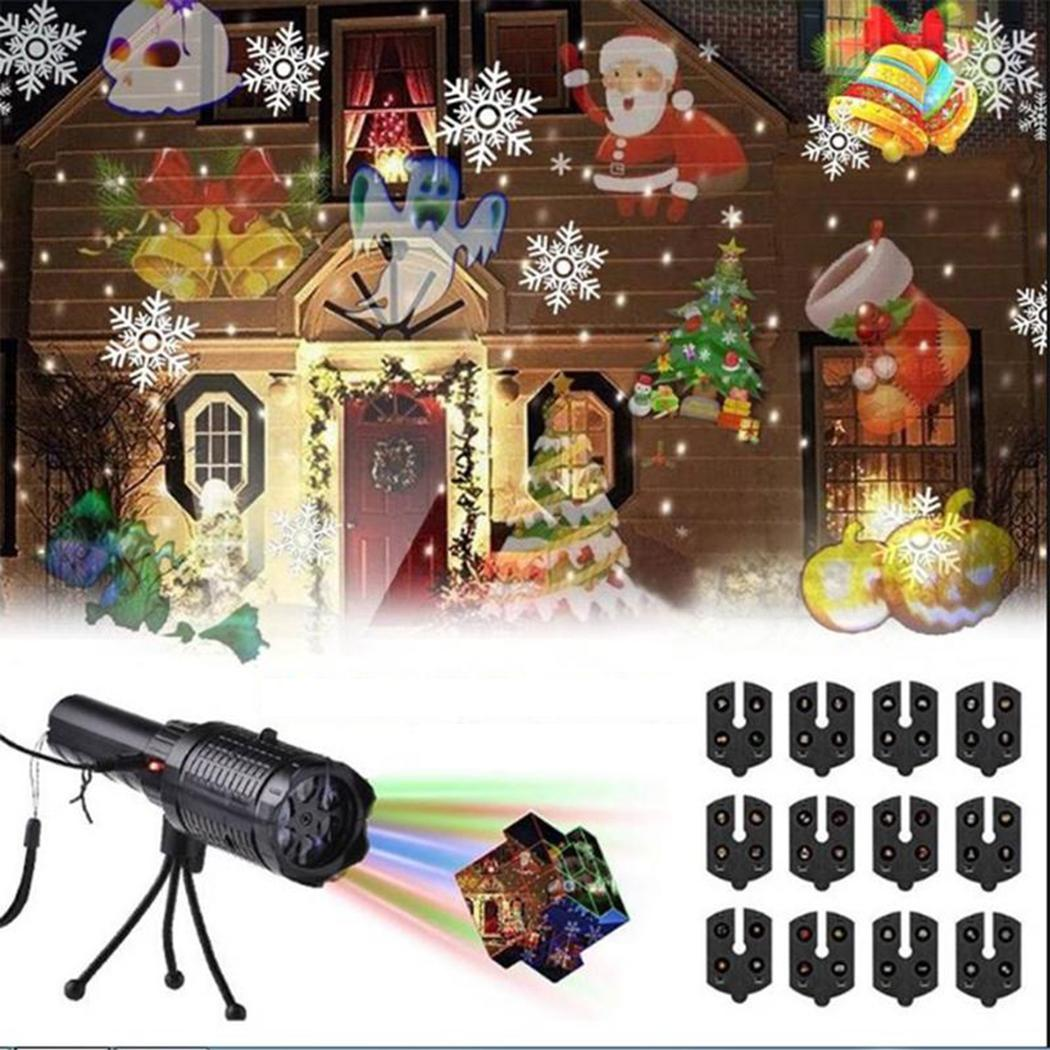 Portable Beautiful LED Projection Lamp Christmas Home Party Decoration Lamp For Button 4W Night light