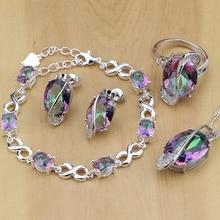 Mystic Rainbow Fire Australische Crystal 925 Zilveren Sieraden Set Voor Vrouwen Bruiloft Oorbellen/Hanger/Ketting/Ringen/armband