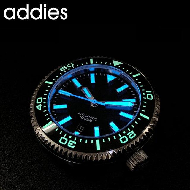 2019 nova moda relógio de aço inoxidável mergulhador relógio 1000 m resistente à água vidro safira cerâmica moldura azul luminoso 2
