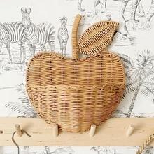 Flower Apple Shape Rattan Basket Hnging Storage Case Home Decor Kids Storage Organizer Hand Woven