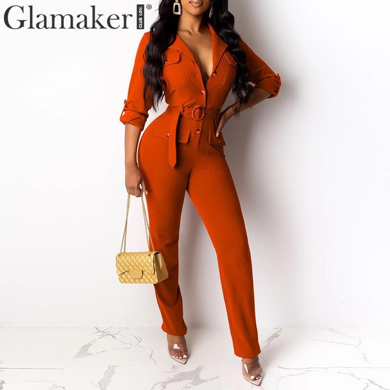 Glamaker Sexy Bandage Buttons Knitted Jumpsuit Elegant Bodycon Office Wear Jumpsuits & Rompers Slim Party Jumpsuit Women Blazer