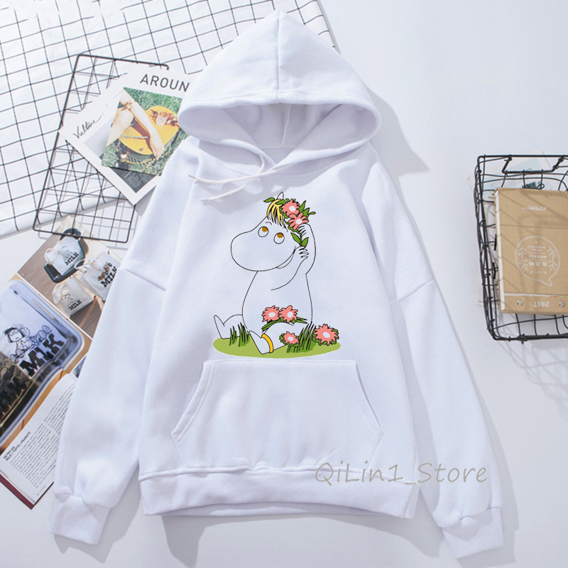 Japanese Whisky Design Moomins little My Print Cute Funny Hoodie Ladies Harajuku Kawaii Hat Sweatshirt 90s Tumblr Clothes